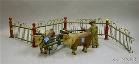Four-piece Carved and Painted Wood Oxen and Cart with Driver and Paddock Fencing.