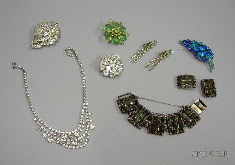 Assorted Rhinestone and Paste Costume Jewelry