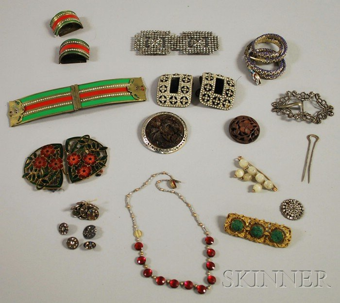 Group of Antique and Costume Buckles and Assorted Jewelry Items