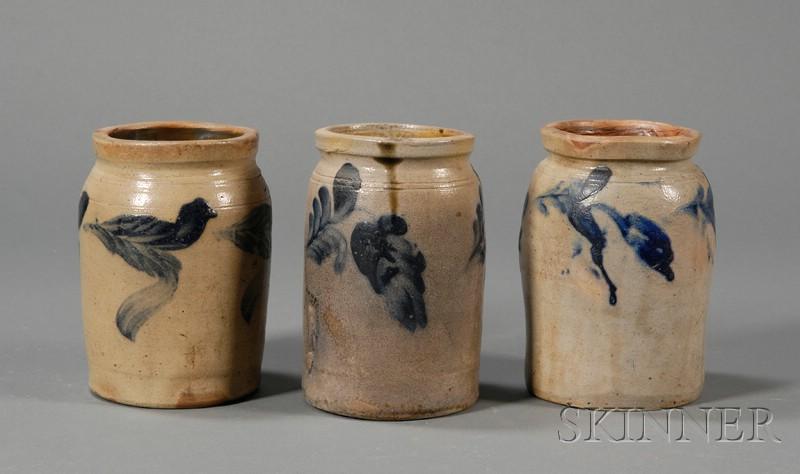 Three Cobalt-decorated Stoneware Canning Jars