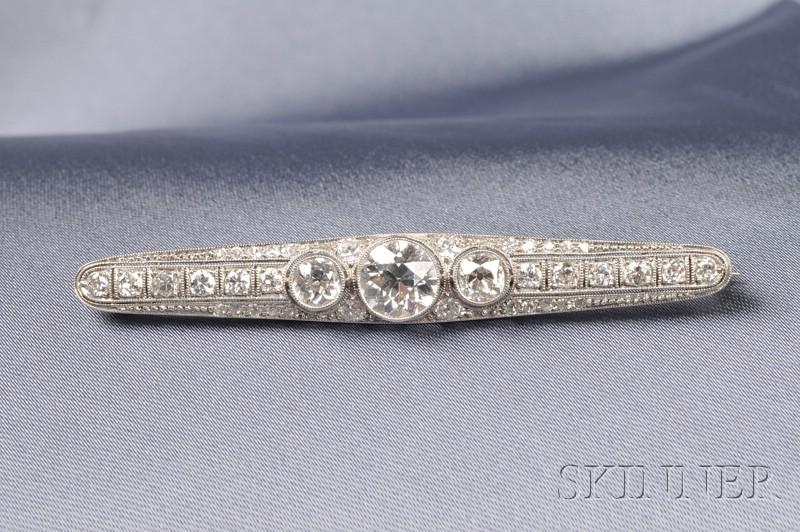Art Deco Platinum and Diamond Bar Pin