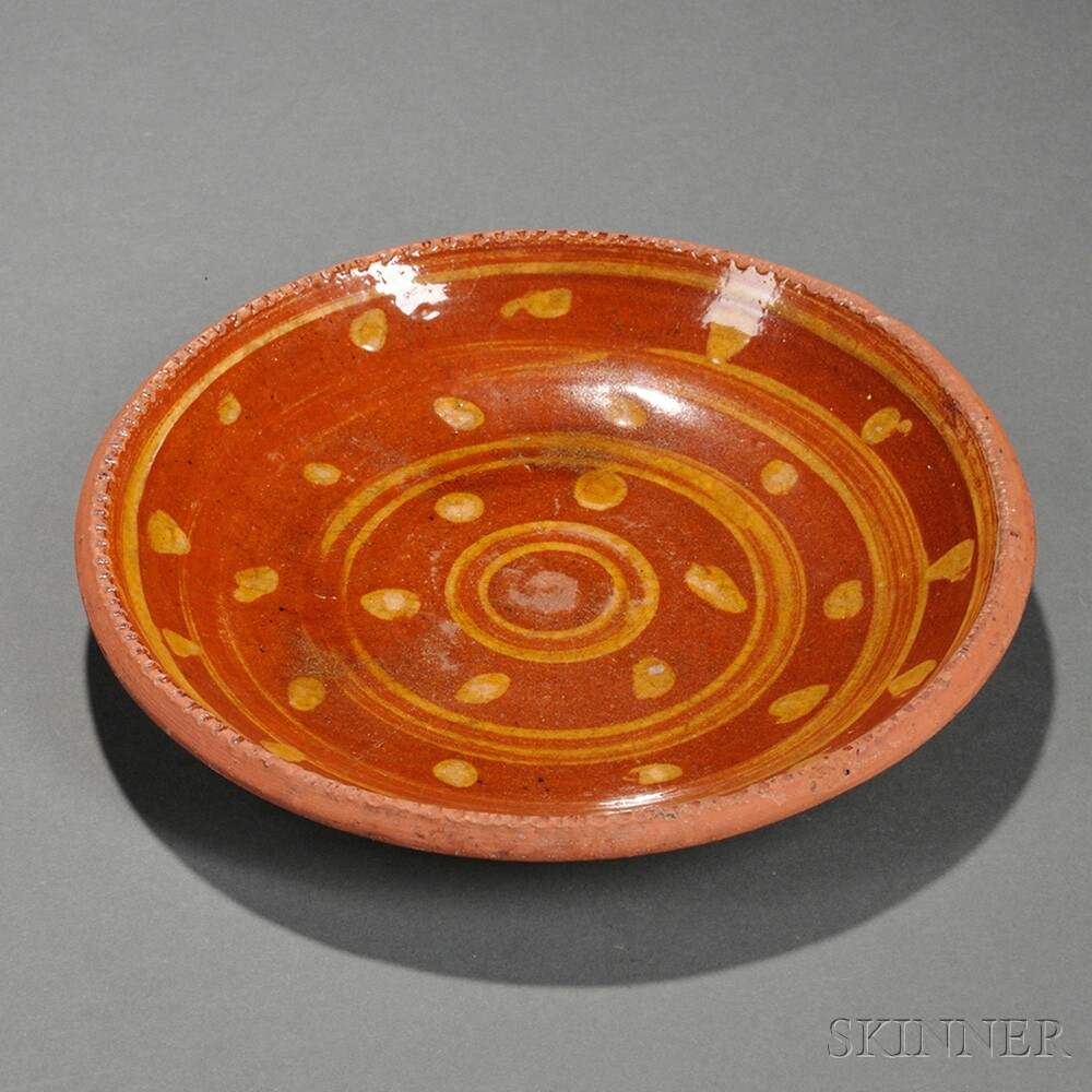 Slip-decorated Redware Pie Plate