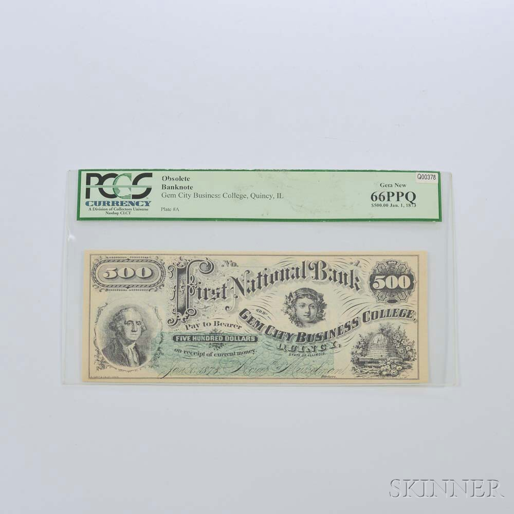 1873 Gem City Business College $500 Banknote, PCGS 66PPQ
