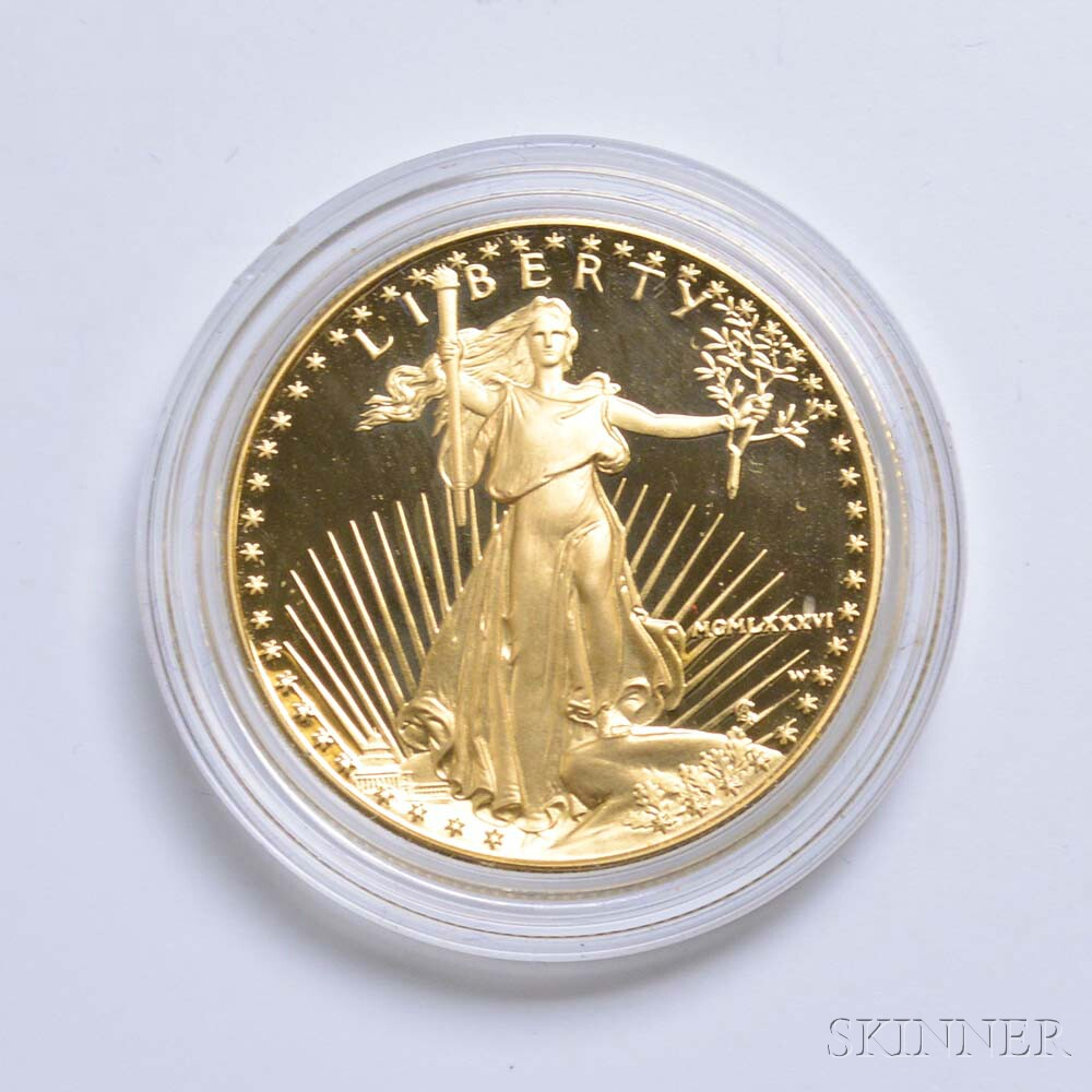Cased 1986 $50 Proof Gold Eagle.     Estimate $1,200-1,500