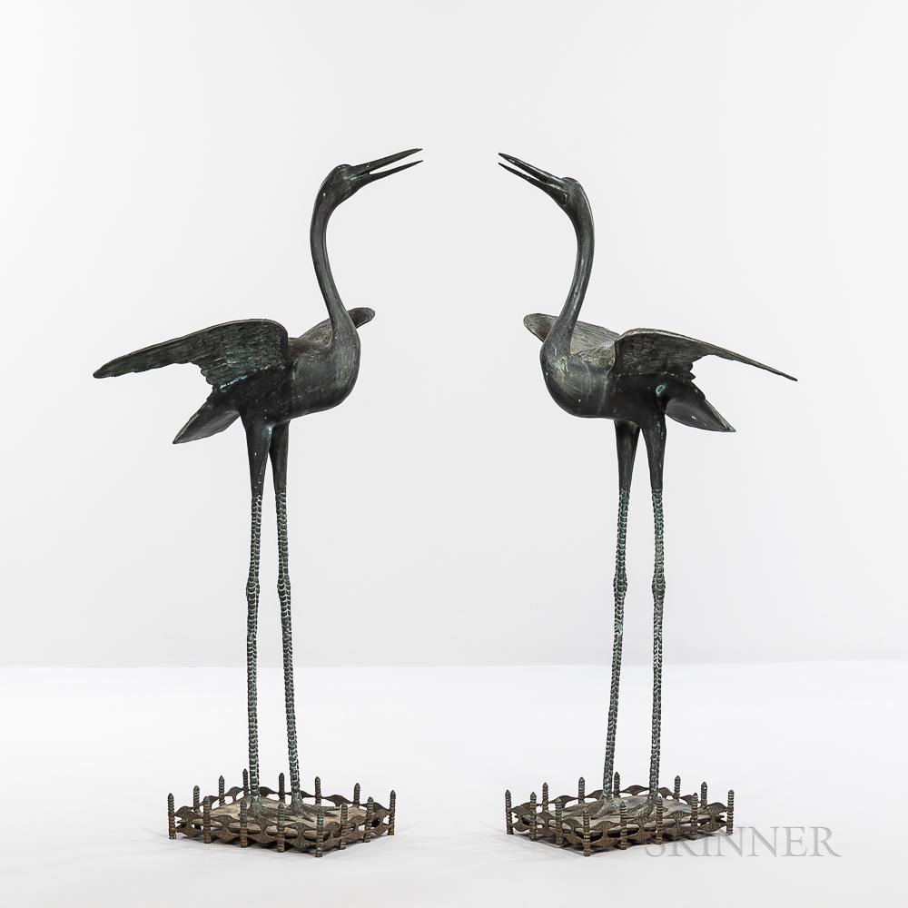 Pair of Bronze Cranes