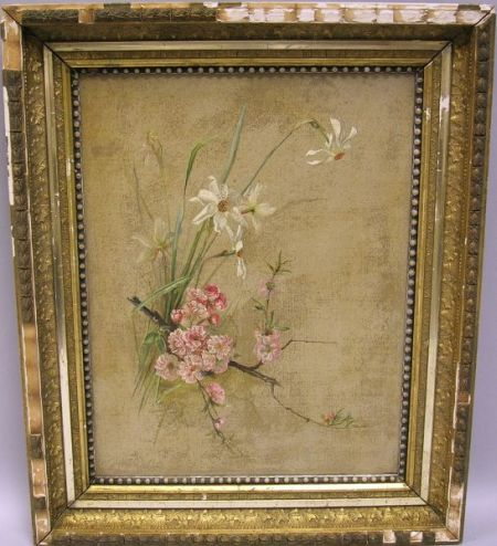 Framed Oil Still Life with Jonquils and Cherry Blossoms.