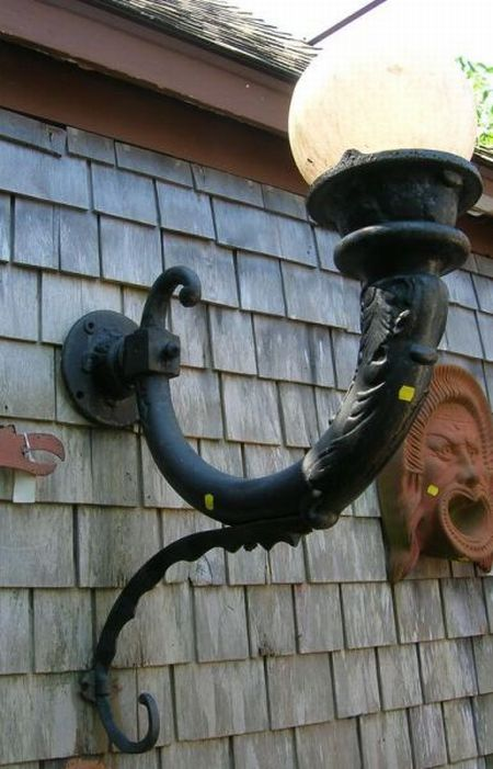Large Pair of Victorian Black Painted Cast Iron Lamp Wall Sconces.