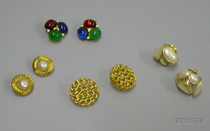 Pair of Ciner and Three Pairs of Chanel Costume Earclips.