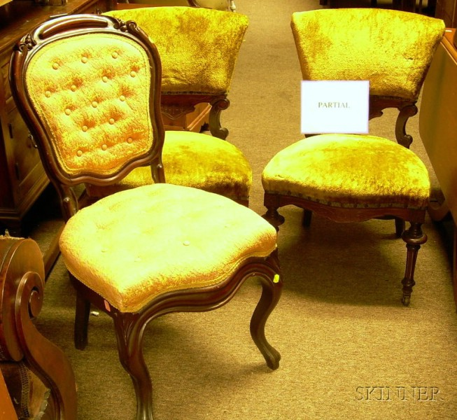 Five Assorted Victorian Upholstered Carved and Veneered Parlor Chairs