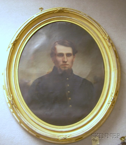 Oval Framed 19th Century American School Enhanced Photographic Portrait of a Young Man with a Goatee