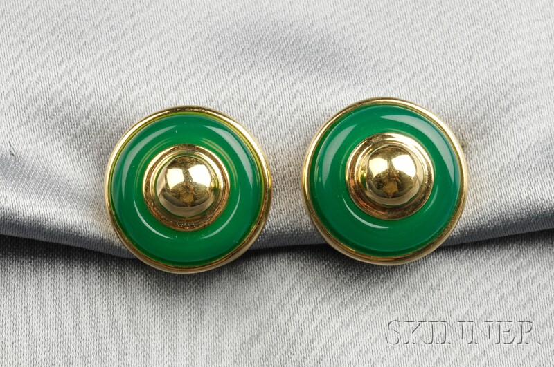 18kt Gold and Dyed Green Chalcedony Earclips, Tiffany & Co.