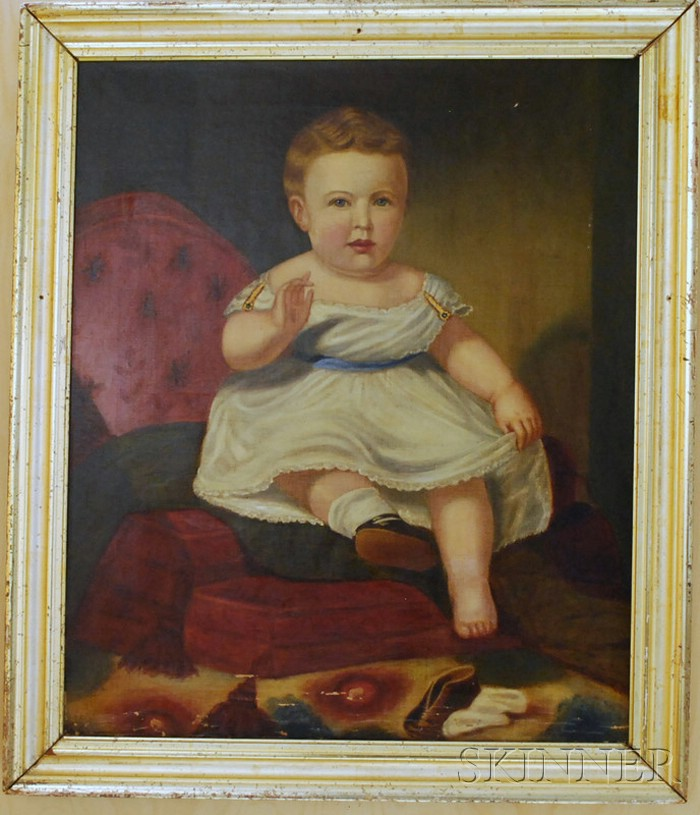 19th Century American School Oil on Canvas Portrait of a Child in a White Dress