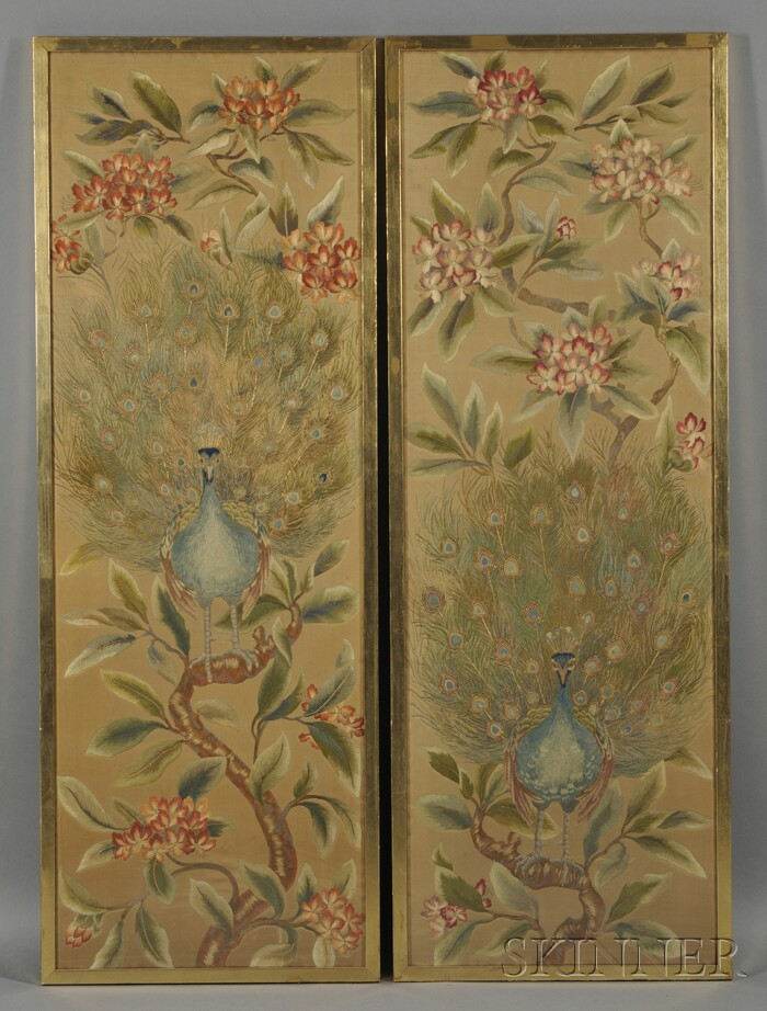 Pair of Framed Embroidered Panels with Peacocks