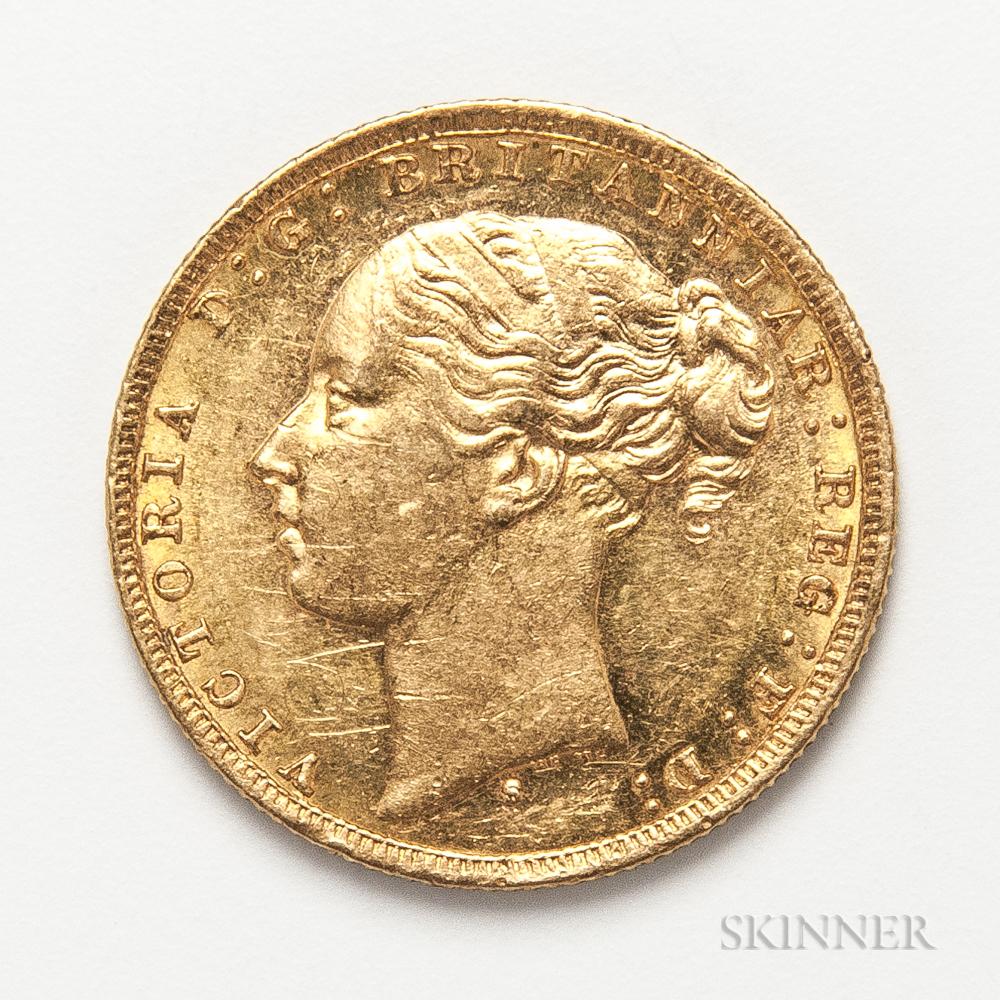 1879-S British Gold Sovereign.     Estimate $400-600