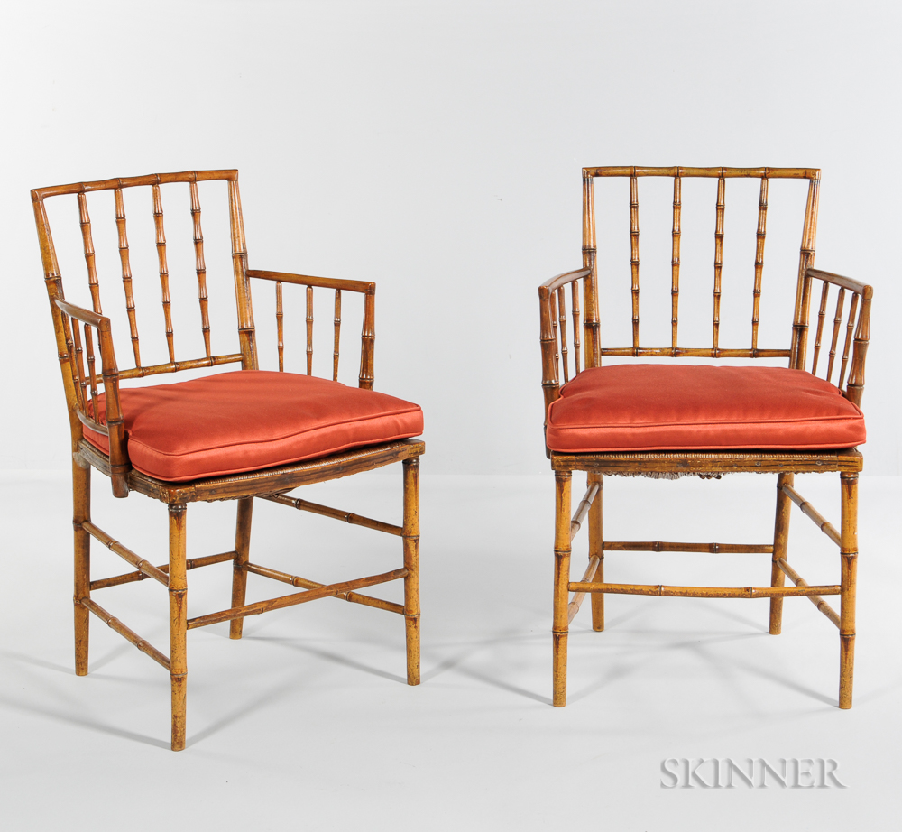 Pair of Regency Faux Bamboo Armchairs