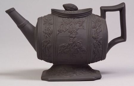 Staffordshire Black Basalt Barrel Teapot and Cover