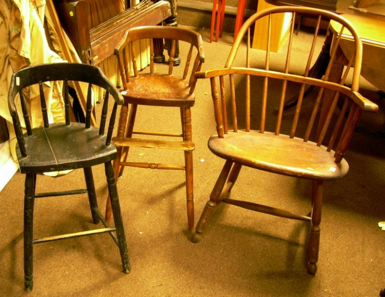 Windsor Sack-back Armchair and Two Childs Windsor Firehouse High Chairs.