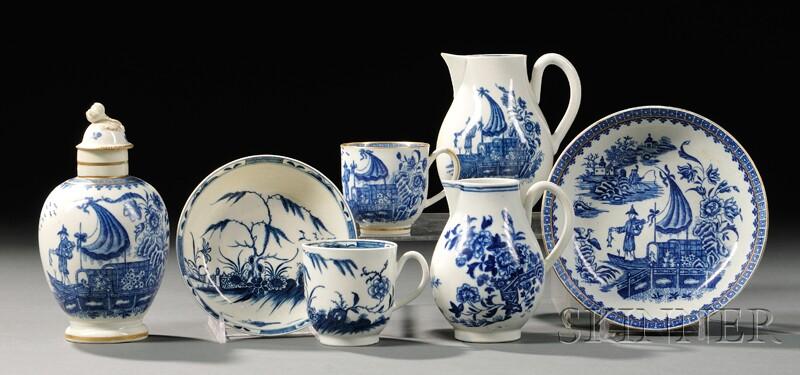 Five Worcester Porcelain Blue-decorated Items