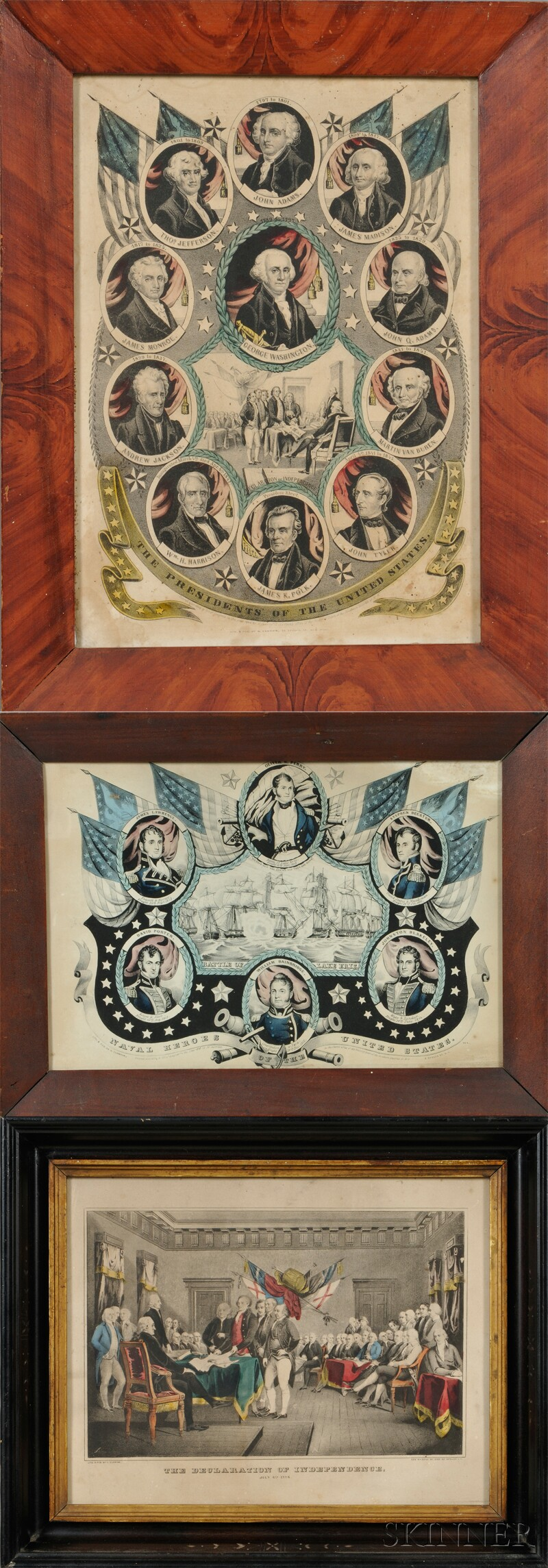 Nathaniel Currier, publisher (American, 1813-1888) Lot of Three Historical Prints: The Declaration of Independence.; The President of t