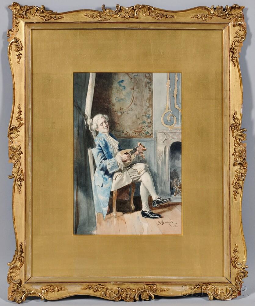 Bernard Louis Borione (French, b. 1865)    Gentleman Playing a Lute