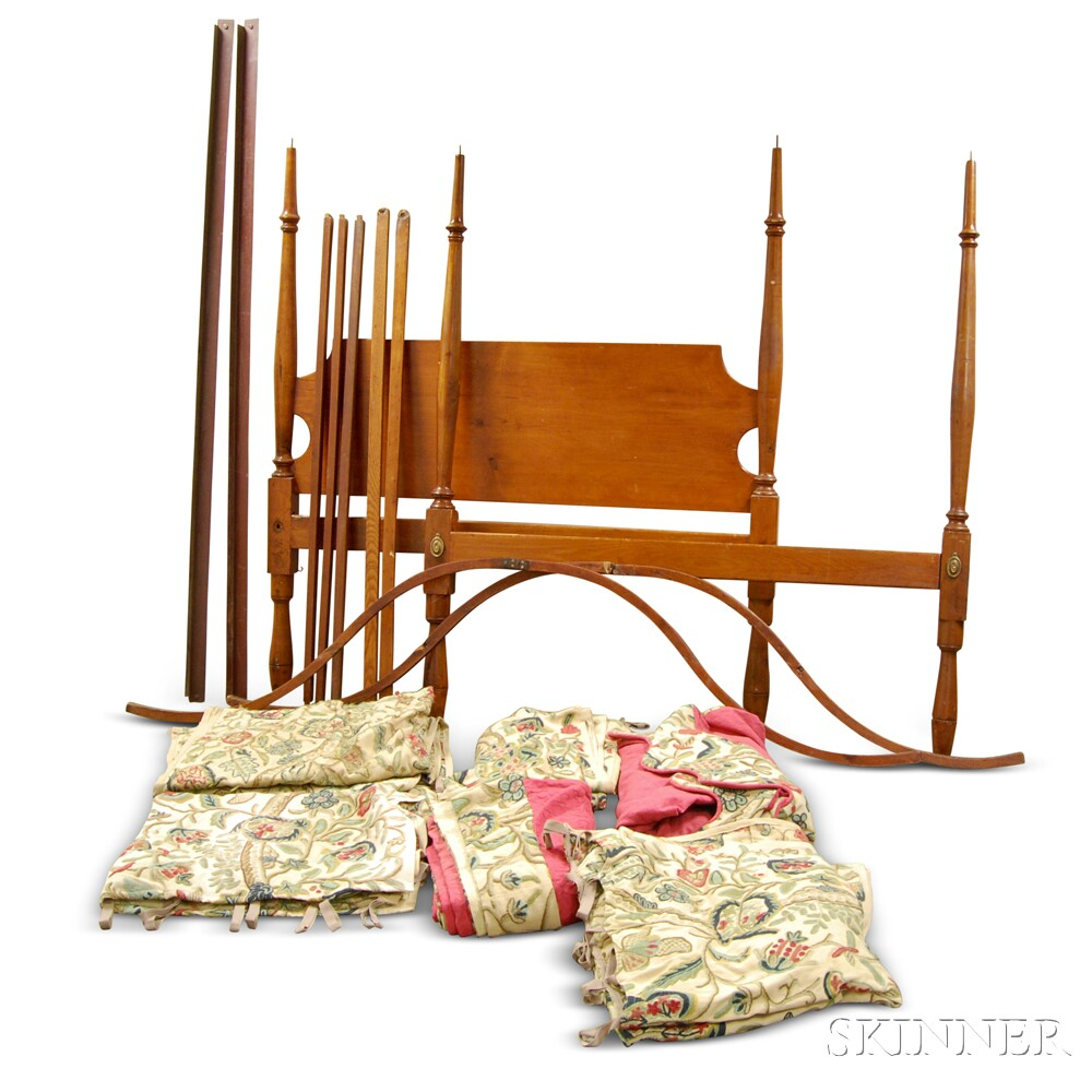 country turned cherry tester bed with crewelwork hangings. Black Bedroom Furniture Sets. Home Design Ideas
