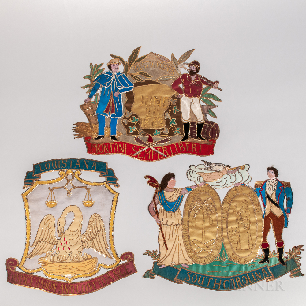 Three Silkwork, Embroidered, and Sequin-embellished State Seal Banners for South Carolina, West Virginia, and Louisiana