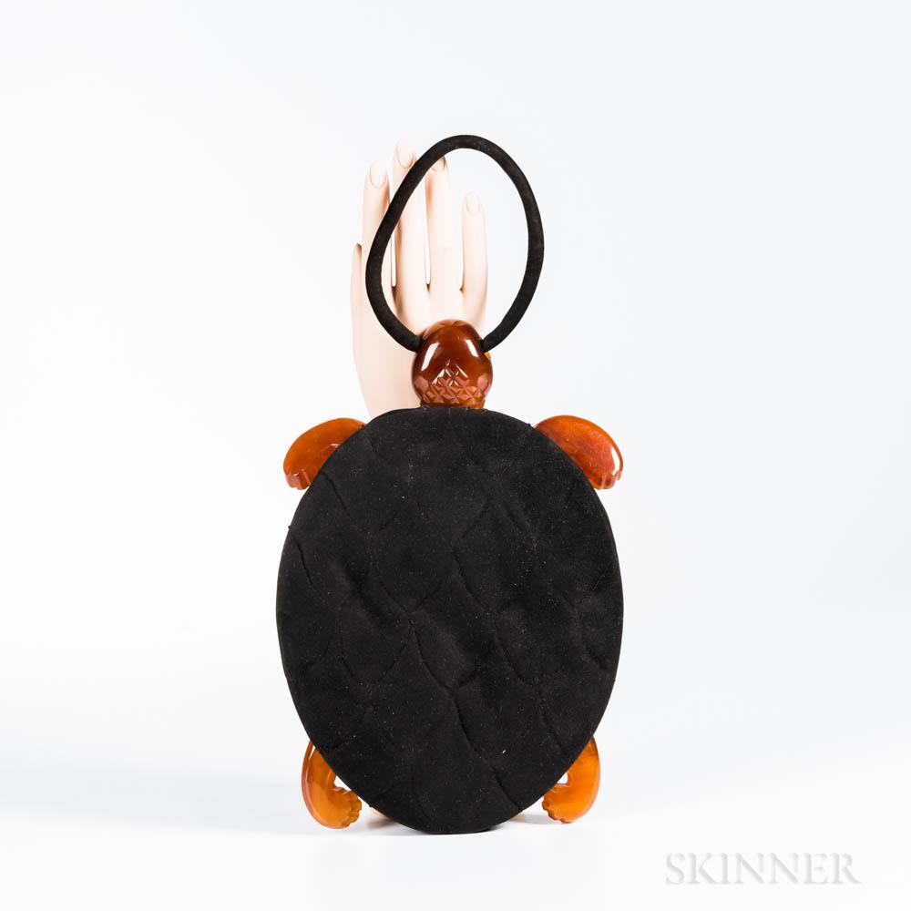 Vintage Black Suede and Bakelite Turtle Handbag