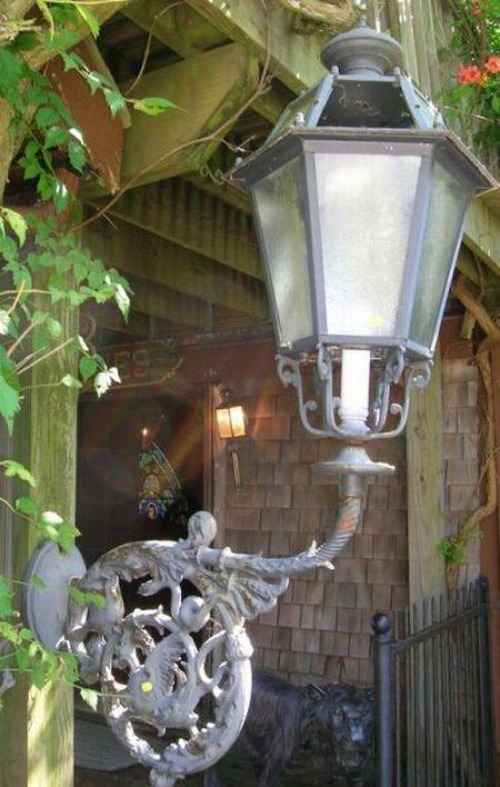 Italian Renaissance-style Cast Iron Wall Lantern.
