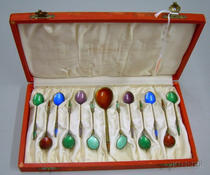 Boxed Set of Twelve A. Michelsen Enameled Sterling Silver Demitasse Spoons and a Sugar Spoon.