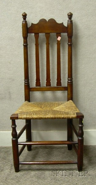 William & Mary Maple Bannister-back Side Chair with Woven Rush Seat.