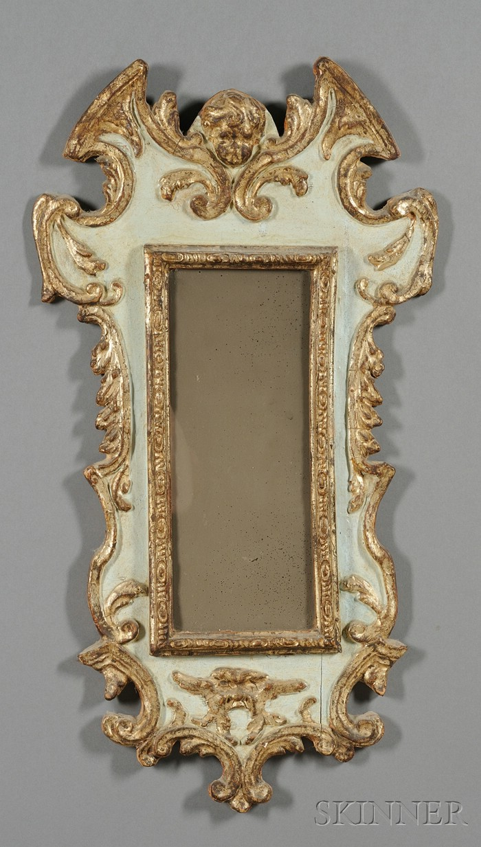 Italian Rococo Painted and Parcel Gilt Gesso Mirror
