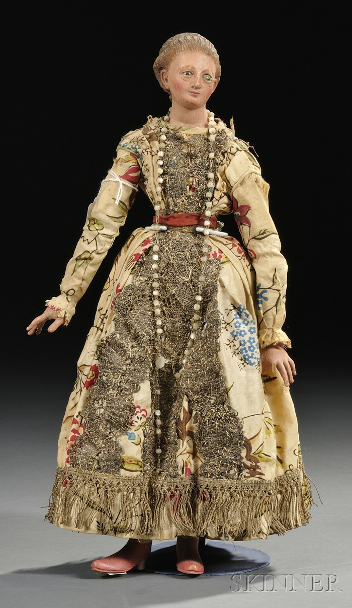 Carved and Painted Wood Doll