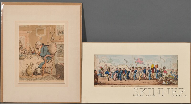 Two British Satirical Hand-colored Engravings