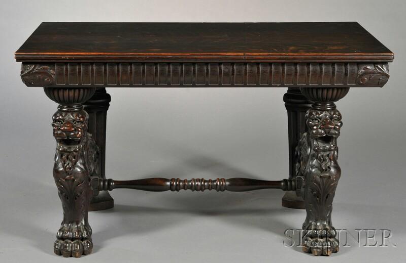 Mediterranean Revival-style Carved Oak Table