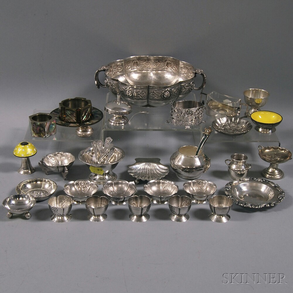 Approximately Thirty-five Sterling and Plate Salts and Spoons