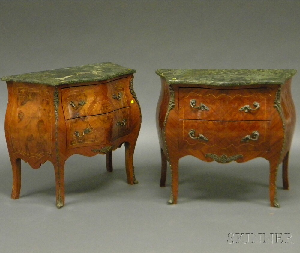 Pair of Louis XV-style Mahogany and Inlay Marble-top Bombe Chests