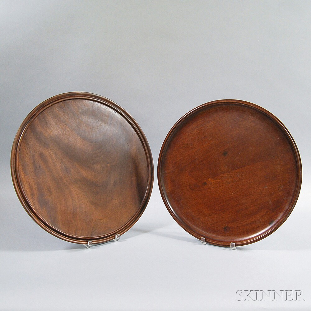 Two Turned and Molded Round Mahogany Trays