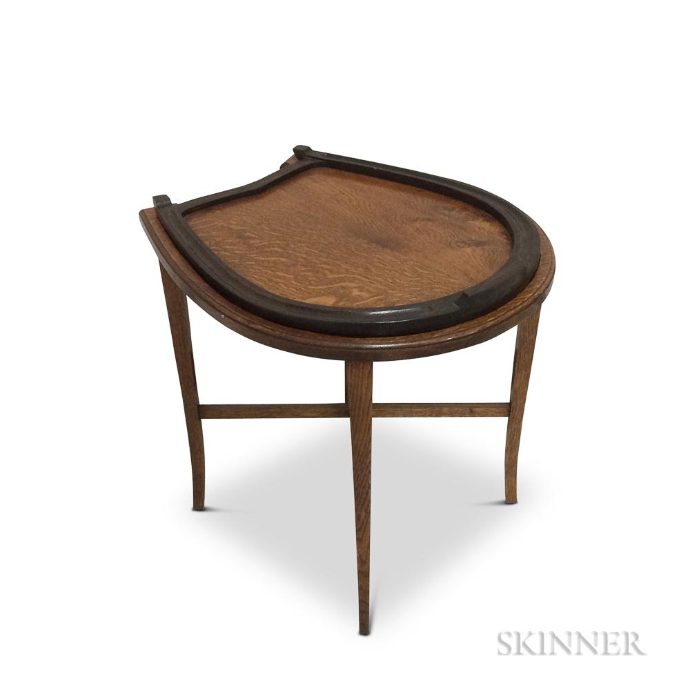 Oak Horseshoe-form Tray Table