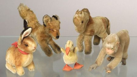 Five Steiff  Mohair Animals