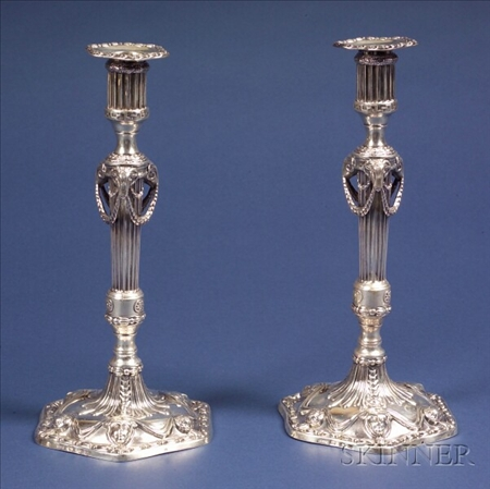Pair of Neoclassical Silver Candlesticks