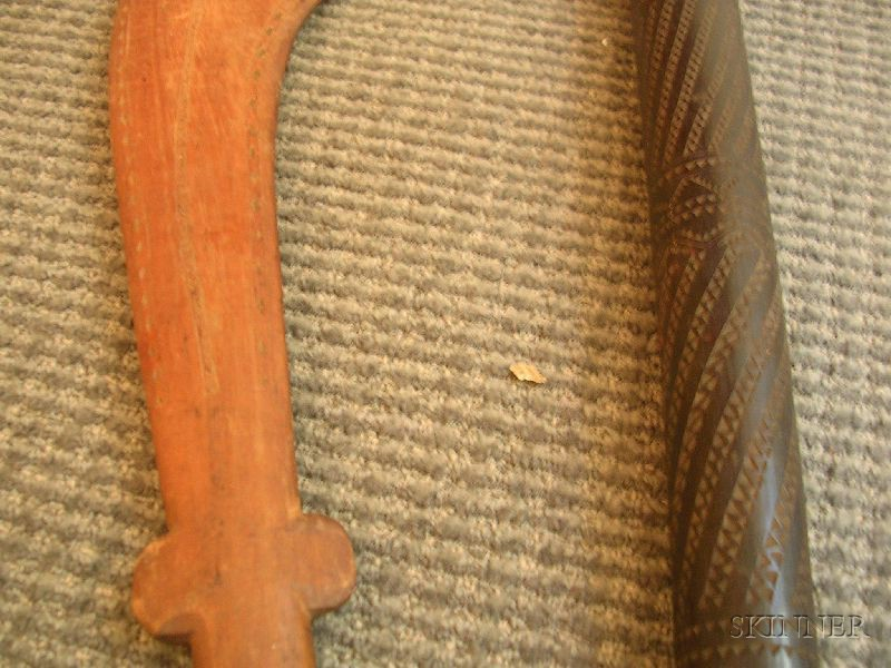 Two South Pacific Carved Wood Clubs