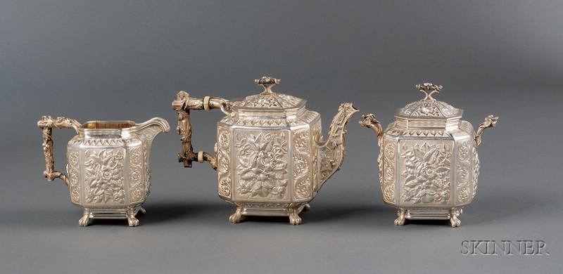 Three Piece Sterling Repousse Batopilas Presentation Tea Set