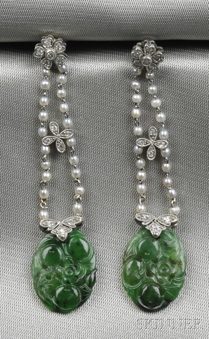 Edwardian Platinum, Jadeite, Seed Pearl, and Diamond Earpendants