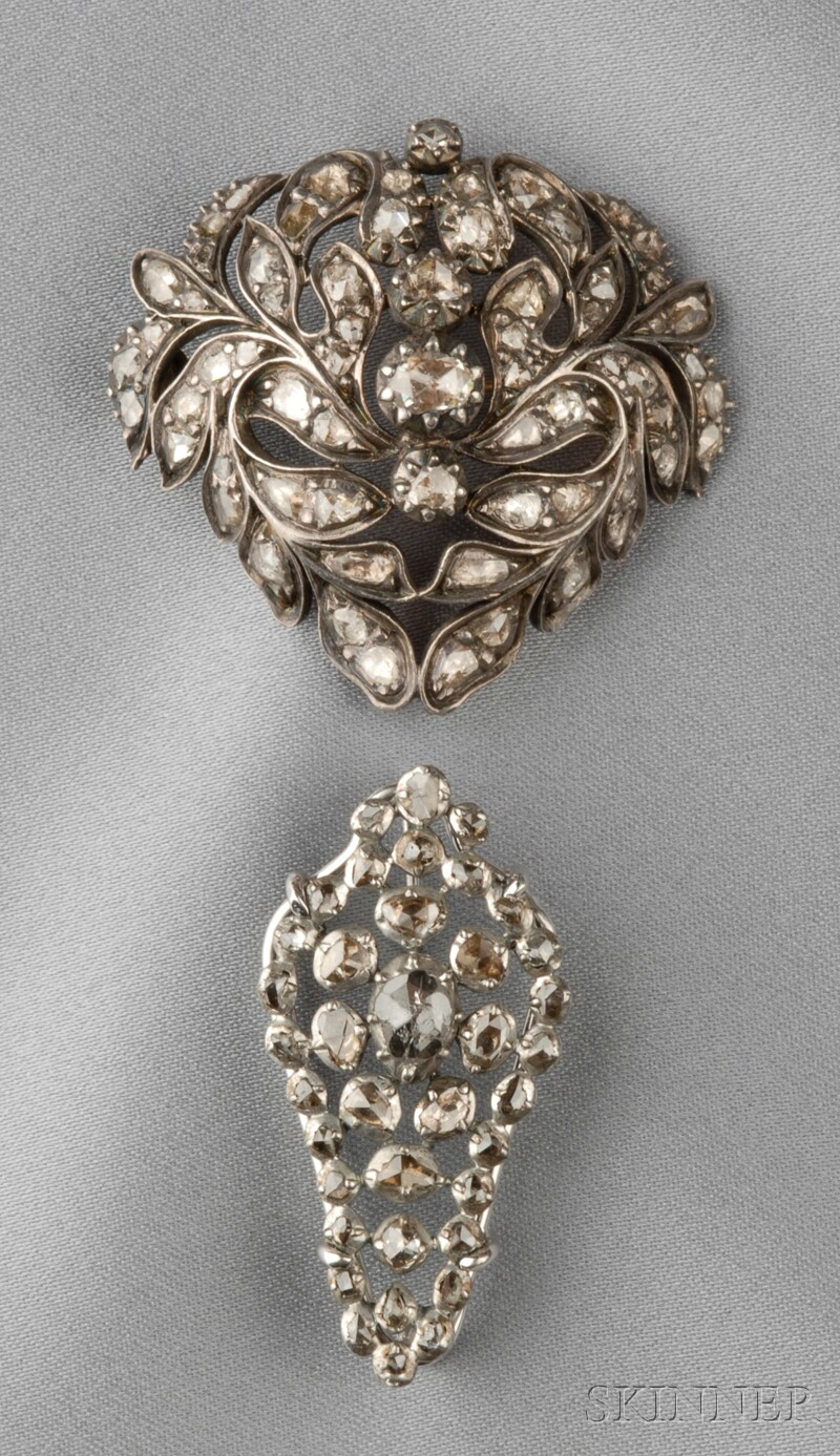 Two Antique Silver and Rose-cut Diamond Brooches