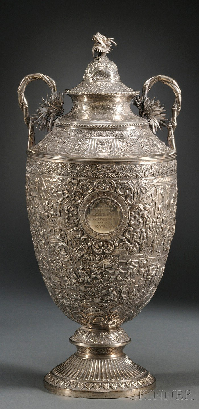Large Chinese Export Silver Trophy Urn