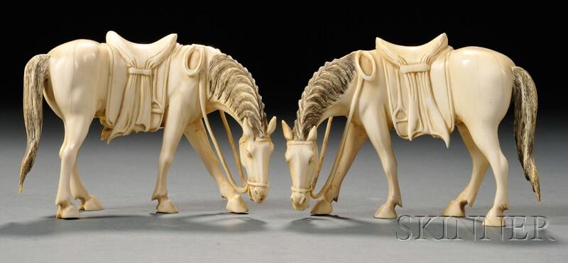 Pair of Ivory Horses