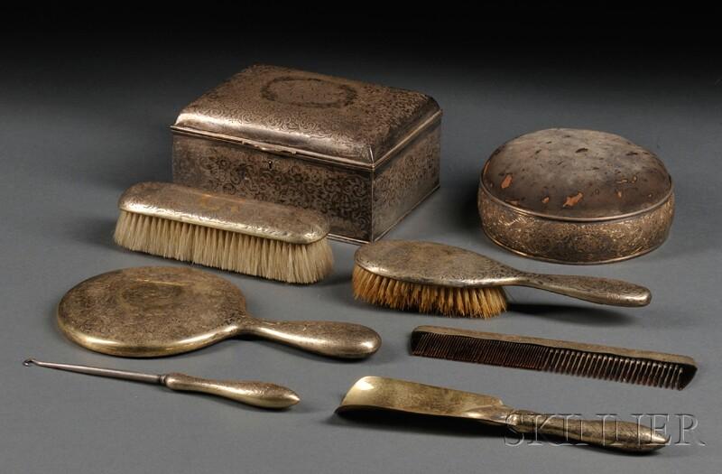 Eight-piece Gorham Sterling Silver Dresser Set