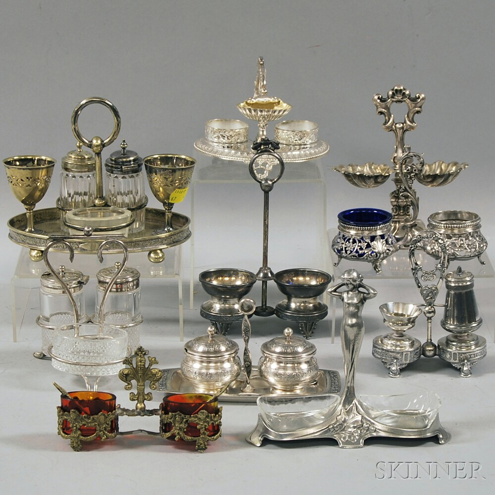 Ten Mostly Brass and Silver-plated Cruets