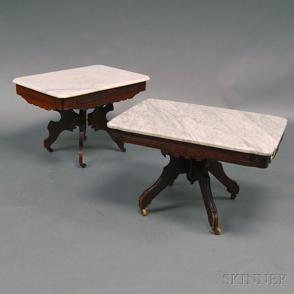 Two Similar Eastlake Marble-top Tables