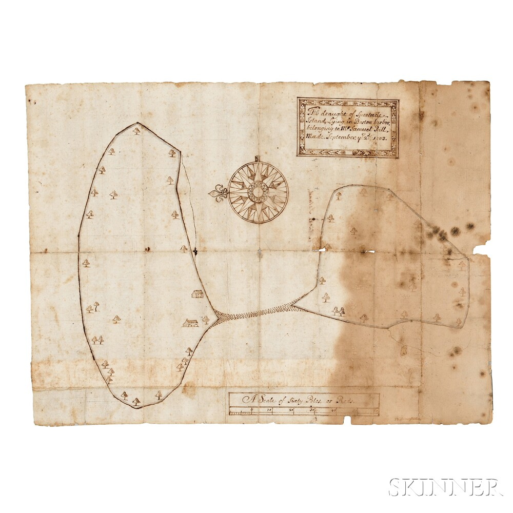 Spectacle Island, Boston Harbor, Land Deed: 1684 and Hand Drawn Chart: 1703.